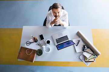 Wall Mural - Businessman at the desk with laptop in his office.