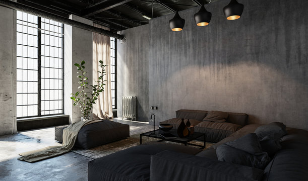 Spacious living room in loft style