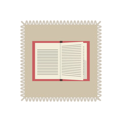 Retro Postage stamp with a book. Vector illustration.