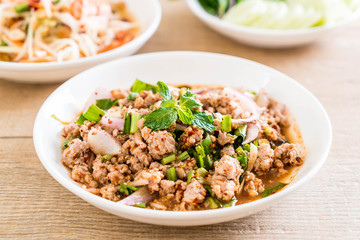spicy mince pork (Larb - Traditional Thai Food)