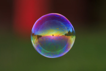 round iridescent soap bubble flying over the Sunny meadow