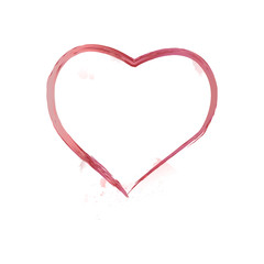 Vector Heart shape frame with brush painting isolated on white background Vector illustration.