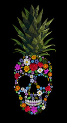 Embroidery skull pineapple t-skirt print. Fashion decoration patch floral embroidered imitation. Yellow exotic fruit tropical art. Vector illustration black background