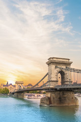Keuken foto achterwand Boedapest Beautiful view of the Chain Bridge over the Danube in Budapest, Hungary