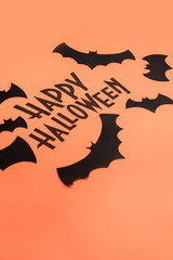 Black logo of Halloween and black bats painted on orange background