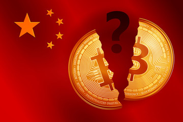 Split golden bitcoin coin symbol with question mark on the China flag. Crypto currency golden coin bitcoin symbol on China flag background.