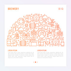Beer concept in half circle with thin line icons related to brewery and Beer October Festival. Modern vector illustration for banner, web page, print media with place for text.