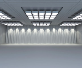 3d Hall and ballrooms wall with Curtain