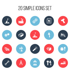 Set Of 20 Editable Structure Icons. Includes Symbols Such As Estate, Wrench, Hacksaw And More. Can Be Used For Web, Mobile, UI And Infographic Design.