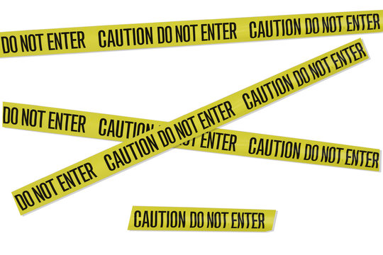 Assorted sections of yellow warning tape with words saying caution do not enter isolated on a white background.