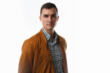Photo of man in shirt and jacket isolated
