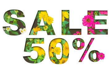 Flowers in bright colors in the summer, the symbol of promotion discount 50%