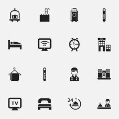 Set Of 16 Editable Plaza Icons. Includes Symbols Such As Employee, Sleeping, Check In And More. Can Be Used For Web, Mobile, UI And Infographic Design.
