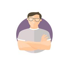 Proud, overproud man in glasses, flat vector icon