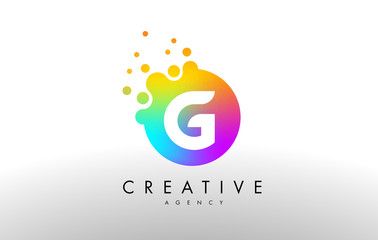 G Rainbow Dots Letter Logo. Letter Design Vector with Colorful Dots