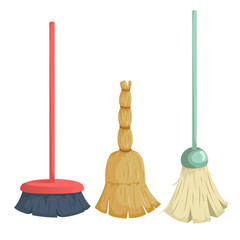 Cartoon trendy broom icons set. Vintage natural and modern plastic brooms. Hygiene and home cleaning vector illustration.