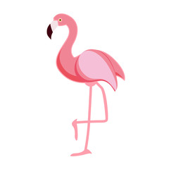Cute Pink Flamingo Icon Vector Illustration