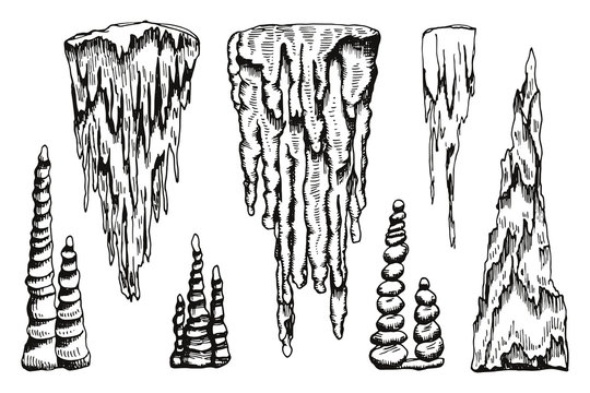 stalactites vector. hand drawing isolated
