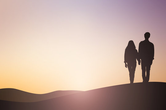 silhouette asian man woman lover couple dating walking on sunset hour sky background sepia tone color concept
