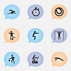 Set Of 9 Editable Sport Icons. Includes Symbols Such As Training Bicycle, Physical Education, Training Pool And More. Can Be Used For Web, Mobile, UI And Infographic Design.