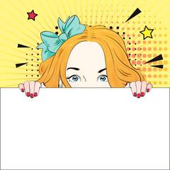 Pop Art Vintage advertising poster cute comic girl holds a white banner. Vector illustration
