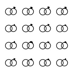 Set of icons of wedding rings, vector illustration