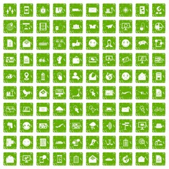 100 mail icons set grunge green
