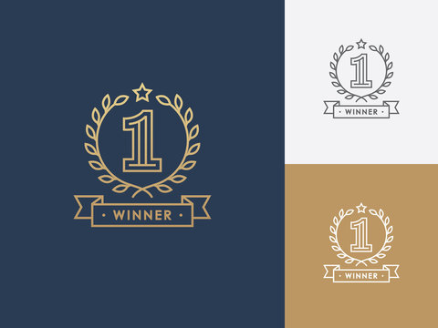 Linear winner emblem with number 1, wreath and ribbon.