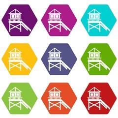 Wooden stilt house icon set color hexahedron