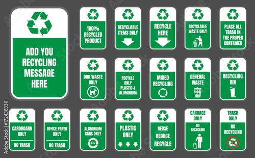Recycle Signs And Symbols Set Ecology Stickers Stock Image And