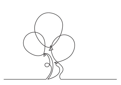 one line drawing of isolated vector object - air balloon