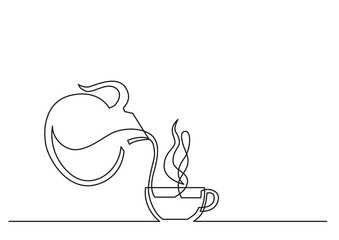 one line drawing of isolated vector object - coffee cup and jar