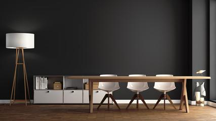 Esszimmer mit großem Holztisch vor dunkelgrauer Wand