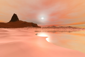 Sunset, a polar landscape, snow on the ground, a mountain with a rocky peak, reflection on water and a dream in the sky.