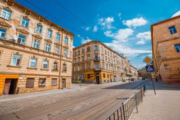 LVIV, UKRAINE - AUGUST 27, 2017: Ancient street of Lviv