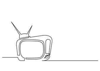 one line drawing of isolated vector object - retro television set
