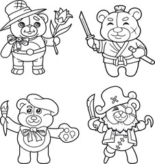 cartoon teddy bears set of images