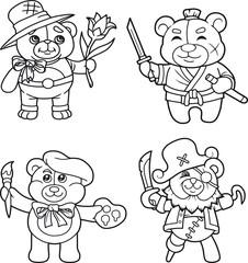 cartoon teddy bears set of images