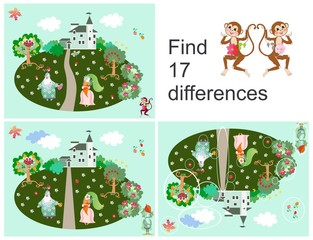 Find 17 differences. Kid game. Hand drawn picture with cheerful characters.