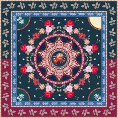 Square ethnic pattern with mandala, flowers, peacock and botanical frame. Stylized image of moon and sun. Bandana, tablecloth, carpet, cushion, greeting card. Indian, persian, turkish motives.