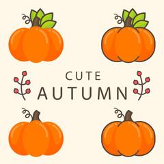 cartoon pumpkin set with text