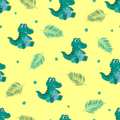 Cute crocodiles on yellow background. Seamless vector pattern for kids.