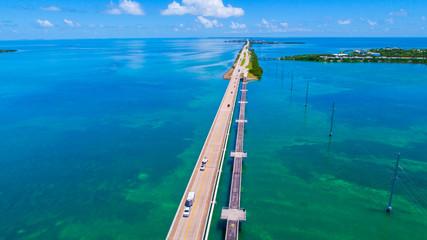 Road to Key West over seas and islands, Florida keys, USA.