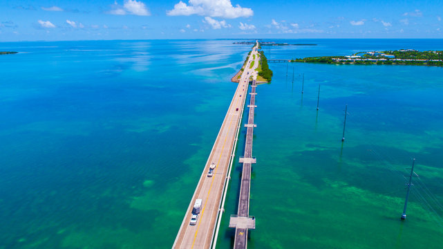 Road to Key West over seas and islands, Florida keys, USA.