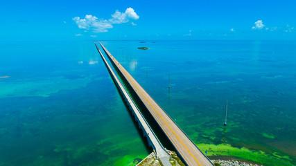 7 mile bridge. Aerial view. Florida Keys, Marathon, USA.