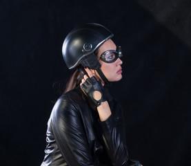 studio portrait of a biker girl