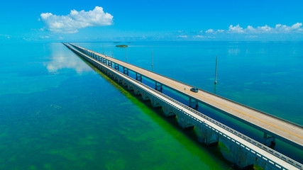 7 mile bridge. Aerial view. Florida Keys, Marathon, USA.