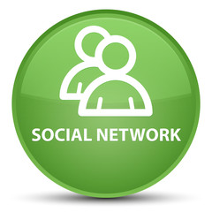 Social network (group icon) special soft green round button