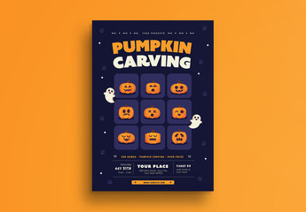 Halloween Pumpkin Carving Party Flyer 1