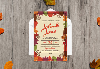 Autumn Themed Wedding Invitation 1